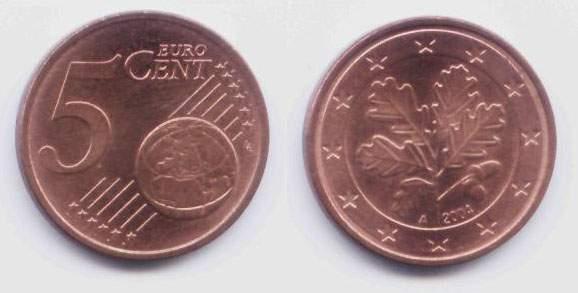 Евро. Монета 5 центов. 2004