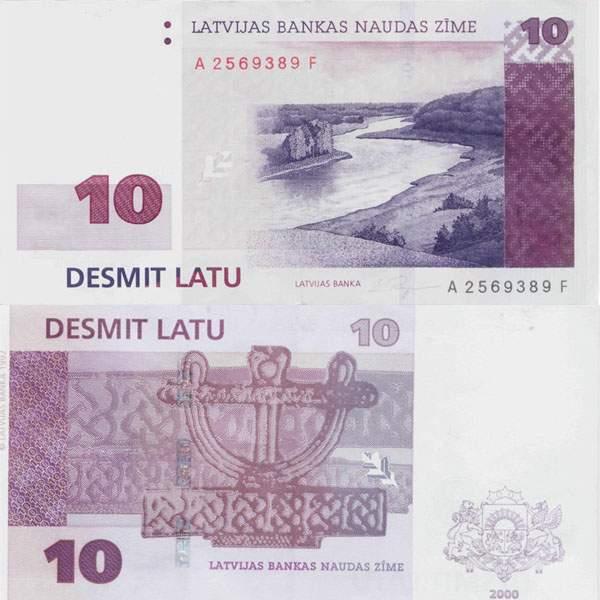 Латвия. Банкнота 10 латов. 2000