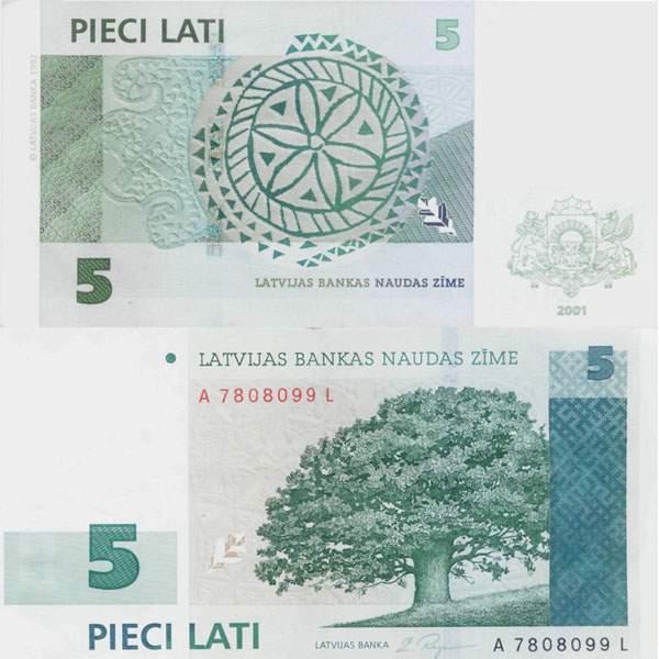 Латвия. Банкнота 5 латов. 2001