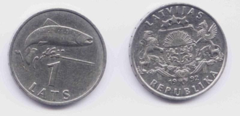Латвия. Монета 1 лат. 1992