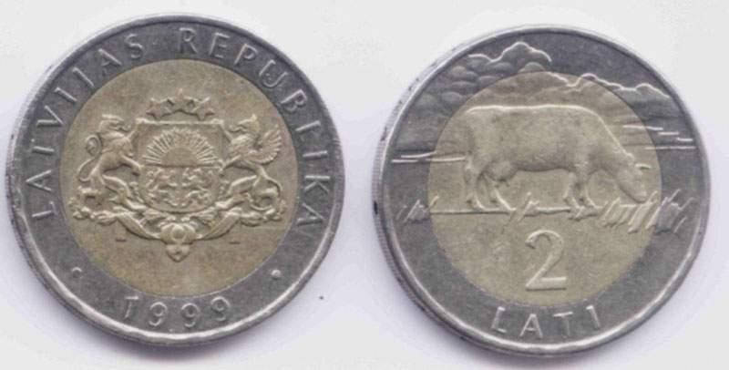 Латвия. Монета 2 лата. 1999