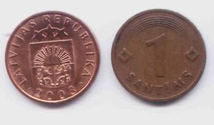 Латвия. Монета 1 сантим. 2003