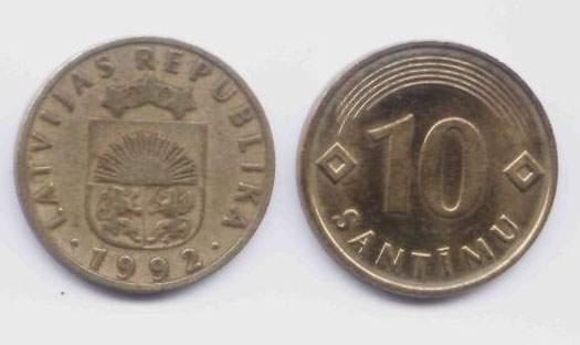 Латвия. Монета 10 сантимов. 1992