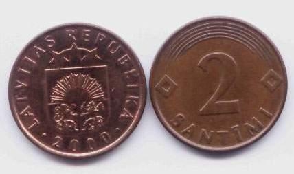 Латвия. Монета 2 сантима. 2000