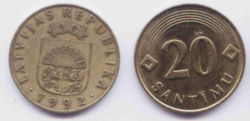 Латвия. Монета 20 сантимов. 1992