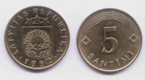 Латвия. Монета 5 сантимов. 1992