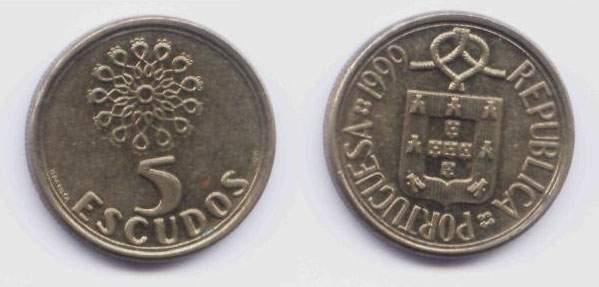 Португалия. Монета 5 эскудо. 1999